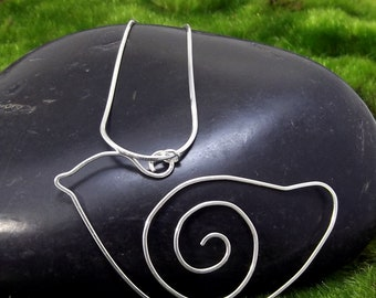 Spiral Bird Necklace - Silver Jewelry - Animal Necklace