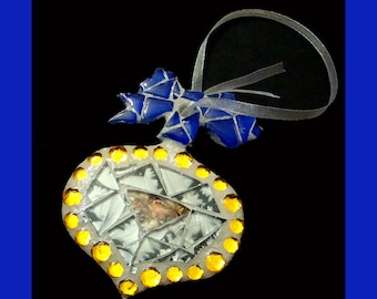 Mosaic Christmas Ornament in Silver Copper Gold
