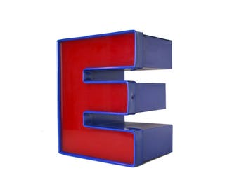 Salvaged Sign Letter E, Red and Blue Building Letter E, Channel Letter, Industrial Letter, 9 inch