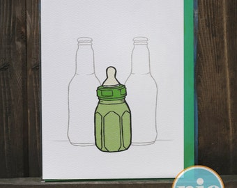 New Bottle In the House - Baby Announcement/Congrats Card