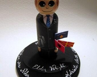 Missionary LDS custom painted wood peg dolls