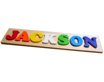 7 letter Solid Wood Toddler Name Puzzle - Solid Wood Custom Name Puzzle - Solid Wood Toddler Name Puzzle - 7 Letter Custom Name Puzzle