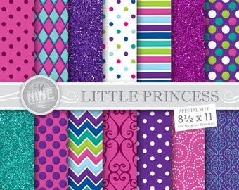 LITTLE PRINCESS Digital Paper Downloads | Girl Printables Patterns | Princess Party Digital Paper Patterns | 8 1/2 x 11 Printable Scrapbook