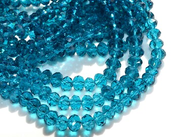 Peacock Blue Crystal Rondelle Beads  30