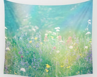 Wall Tapestry, Fabric Wall Hanging, Mountain Wildflowers, Summertime, Photography by RDelean Designs