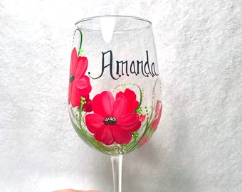 Personalized with free shipping Poppy hand painted wine glass for grandma nana mom sister aunt friend cousin bridesmaid grandma sister in la