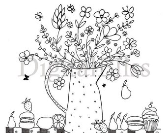 INSTANT DOWNLOAD Adult Coloring Page, Colouring Page, Flower Pitcher Coloring Page , Kids Colouring Page, watwercolor, Kids Craft Activity
