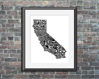 California typography map art unframed print custom state poster personalized wedding engagement graduation gift anniversary wall decor
