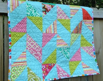 Baby Quilt, Herringbone, Sweet Nothings, turquoise pink green, Girl, natural ingredients, READY TO SHIP