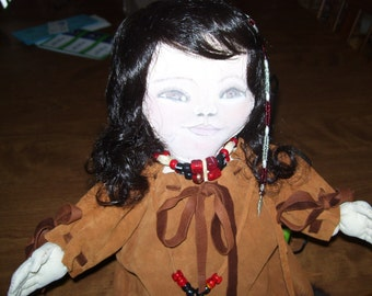Native American made.Hand-made Native Baby Doll, soft sculptured, painted face - 12 inches
