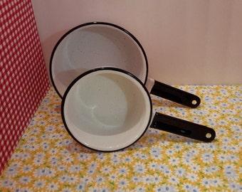 White Enamelware Sauce Pan Set, Vintage Kitchen Pans, White Metal Farmhouse Pans, Enamel Cookware, Gifts Under 50