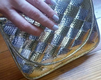 Vintage 80s Gold and Silver woven clutch bag