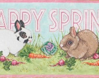 Handpainted Needlepoint Canvas Sandra Gilmore EASTER Bunny Hippity Hop 17x8 -Free US Shipping!!