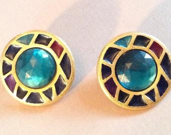 Xeja Enamel and Rhinestone Gold Tone Pierced Earrings
