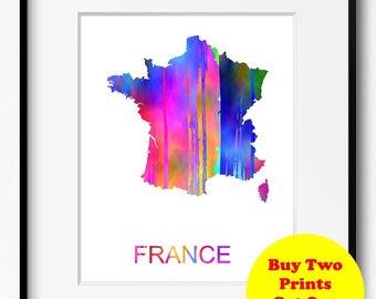 France Watercolor Map Art Print (520) Europe
