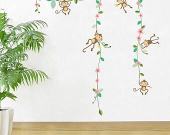 Monkeys & Vines Nursery Kids Wall Decals / Wall Stickers (AW102)