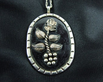 Sterling Silver Rose Pendant or Necklace 38