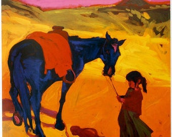 Who's More Stubborn?  Print from an Original Oil Painting, Fine Art Prints, Southwest Art, New Mexico Painting, Wall Art, New Mexico Decor