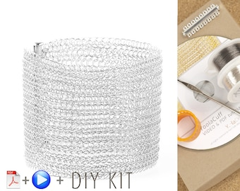 Wire crochet pattern, cuff bracelet KIT , VIDEO and PDF tutorial for making YoolaCuff