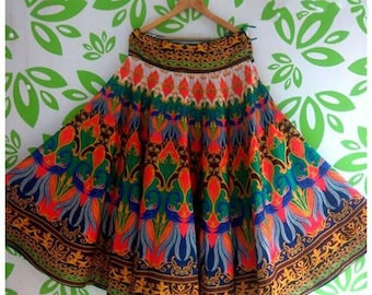 MultiColored Beautiful Full Length Satin Skirt