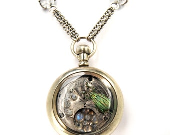 Big Bold KAFKA CLOCK Steampunk Beetle Necklace with GENUINE Weevil Moonstone Silver Victorian Pocket Watch Case by Nouveau Motley