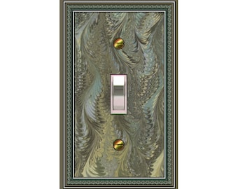 0120d - Marbelized Green Bkgd  - mrs butler switch plate covers -