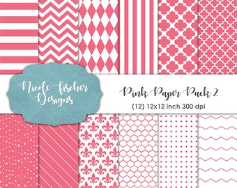 Pink Patterned Paper Pack 2-INSTANT DOWNLOAD