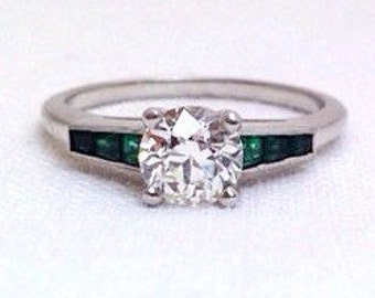 Art Deco Fine Quality Engagement Art Deco Diamond Emerald Ring
