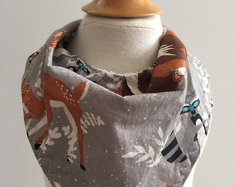 oh hello in fog  ~ bandana drool bib ~ hello bear ~ woodland animals ~ bonnie chrisine ~ art gallery fabrics ~ bib from lillybelle designs