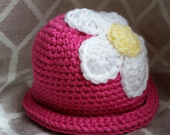 Crochet Daisy Rolled Brim Hat - Infants, Toddlers +