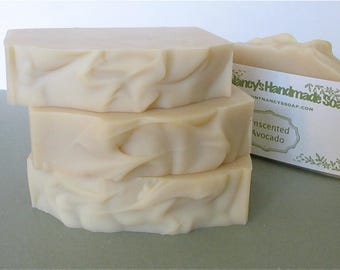 Unscented Avocado Soap - With Rich Avocado Puree, and Avocado Oil - Mild Enough for Facial Soap - Just Soap, No Fragrance or Essential Oils