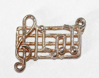 Vintage Music Bar Treble Clef And Notes Sterling Silver Bracelet Charm (1.5g)