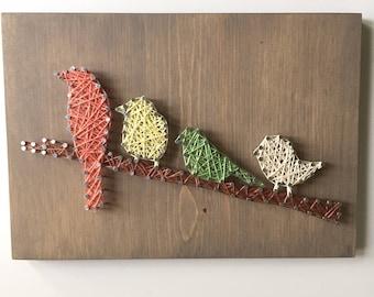 String Art - Bird Art - Gift for Bird Lovers - Rustic Sign - Farmhouse Decor - Teacher Gift - Gallery Wall - Spring Decor - Gift For Her