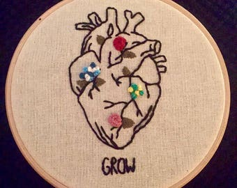 "Grow 6"" Floral Hoop Embroidery"