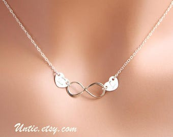 Personalized Infinity with Two Heart Necklace - Gold Filled or Sterling Silver, Delicate Couple of lovers, Cute everyday wear gift for her