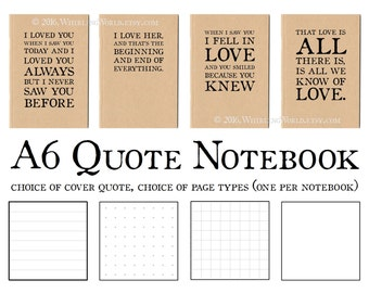 Love Quote Notebook - Lined A6 Kraft Journal & envelope | Long Distance Romance, Love Letter, Recycled Paper Anniversary Card | Memory Book