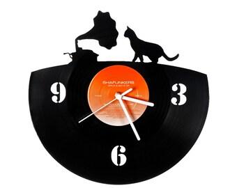 Vinyl clock musician cat