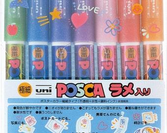 Glittered UNI POSCA 7 Colors Paint Marker Set - Extra Fine Point 0.70mm Pen Line Width