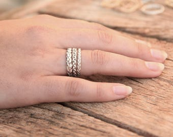 Unique silver band ring, Couples rings, His and hers promise rings, matching promise rings, his and hers wedding bands, braid rings silver