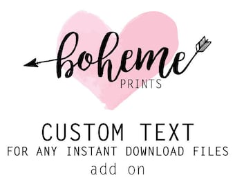ADD ON Custom text for any instant download files