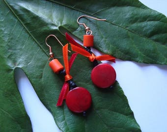 Orange and Red Ribbon earrings
