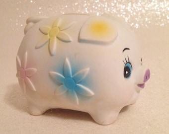 Adorable Vintage Floral Pastel Piggy Bank