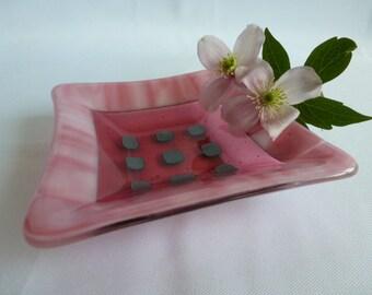 Pink Fused Glass Trinket Dish