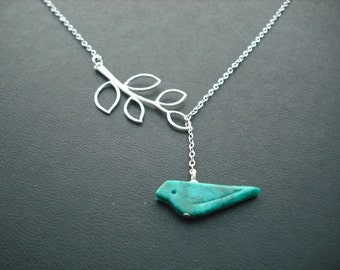 Sterling Silver Chain - genuine turquoise bird lariat