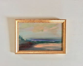 Beach Painting- Framed- Small Painting - Original Painting- 6-1/2 x9-1/2  approx. inch - including Frame -  Collectible - Fine Art