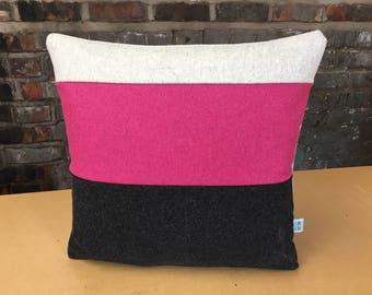 Wool Colour Block Wool Cushion