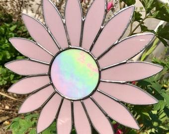 Stained glass gerbera suncatcher..daisy glass gift..daisy home decor..pastel pink gerbera..daisy garden decor. Gerbera porch decor