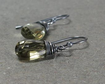 Olive Green Quartz Earrings Wire Wrapped Oxidized Sterling Silver Earrings Minimalist Simple Gift for Girlfriend