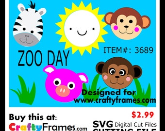 ITEM # CF-3689 - Zoo Day Fun Zebra Pig Monkey Bear Sun - SVG Cutting Machine File - Instant Download - Commercial Use - 2.99