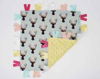 Woodland Girl Tag Blanket, Deer Head Girl Security Blanket, Woodland Lovey Blanket, Woodland Girl Nursery, Woodland Baby Girl Gift